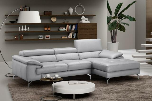 Modern Grey Premium Italian Leather Sectional Sofa Right Hand Chaise J&M  Liam