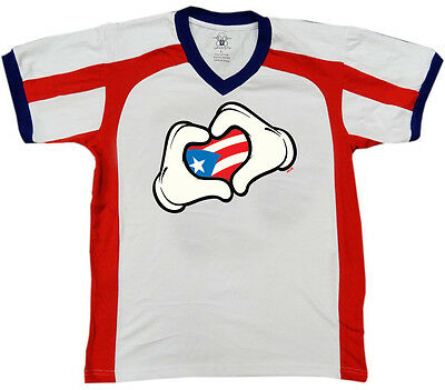 Gloved Hands Heart Puerto Rican Flag Making Shape Love Rico From Juniors T-Shirt
