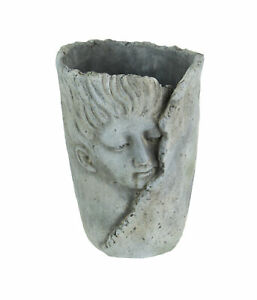 Weathered-Finish-Concrete-Leaf-Wrap-Face-Planter-Vase-8-Inches-High