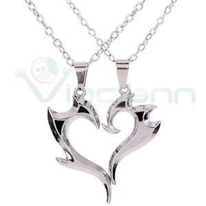 Collana-doppio-ciondolo-pendente-coppia-catenina-Dragon-Heart-cuore-regalo-amore