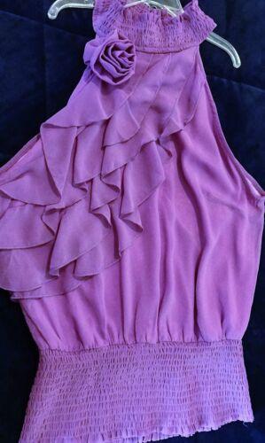 BLOUSE TOP Lavender Ruffles Smocking Fabric Flower