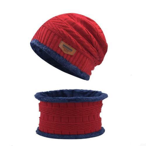Women Men Winter Warm Beanie Hat Hat+Scarf Set Warm Knit Thick Fleece Lined Caps