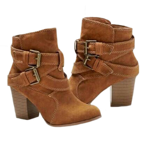 Details about  /Womens Winter Ankle Boots Mid Block Heels Ladies Double Buckle Chunky Shoes Size