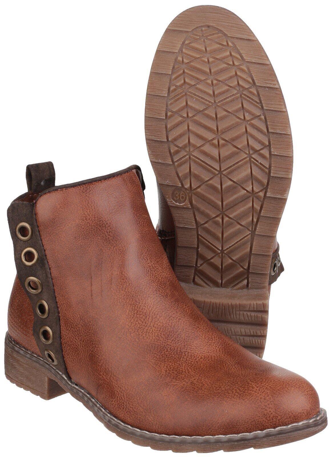 Divaz demi cheville à enfiler pour femme marron clair clair clair talon fashion fermeture éclair bottes chaussures UK3-8 323e62