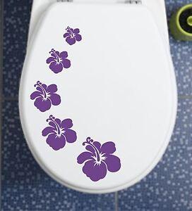 Klodeckel-Fliesen-Auto-Aufkleber-WC-Hibiskus-H6-in-46-unters-Farben-NEU