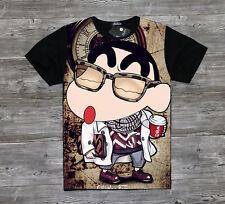 Japanse cartoon Crayon Shin-chan black Unisex Clothing T-shirt Short Sleevet