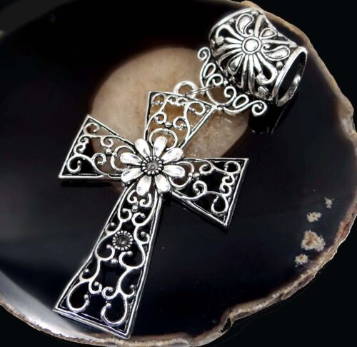 Scarf Pendant Silver Pewter Filigree Cross Slide