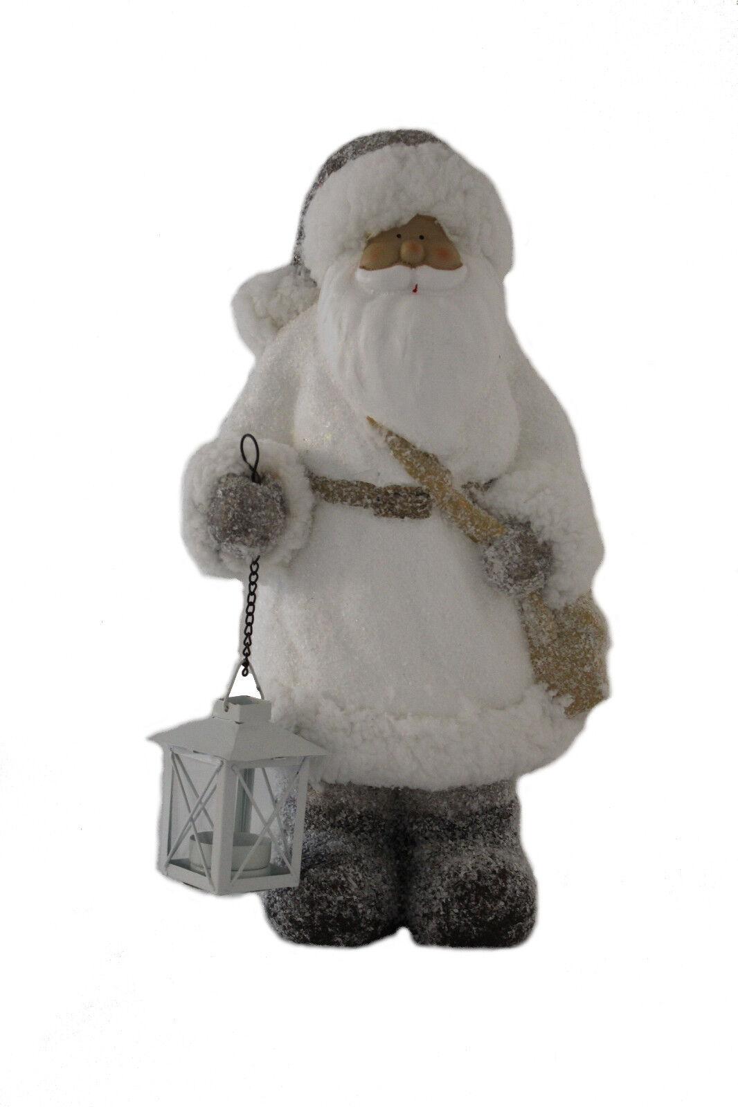 Nikolaus   Weihnachtsmann mit Laterne white grey 42cm hoch Weihnachten Dekoration