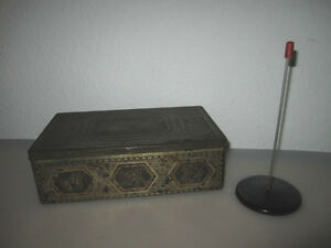 Rare TIN BOX with antiquity décor and Memo Holder by HARIBO LAKRITZEN BONN