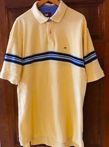 27f7a8e5223 VTG 90s Tommy Hilfiger Polo Mens XL Yellow Striped Shirt Color-block ...