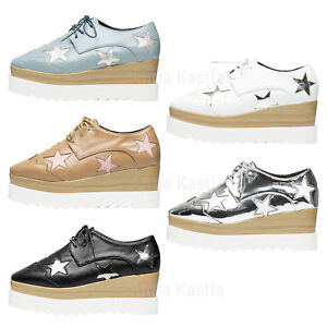 Platform Annakastle Oxford Shoes Up Chunky Star Lace Womens Creeper vHnxRzHf