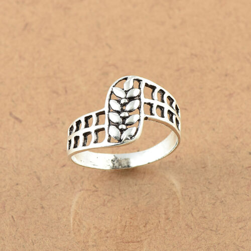 Details about  /925 Sterling Silver Leaf Band Ring Handmade Jewelry size US 4-8