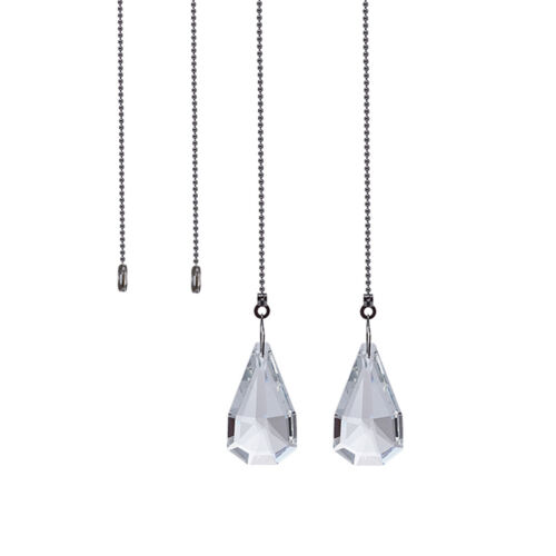 2PCS Clear Crystal Prisms Suncatcher Fan Pull Chain Hanging Pendant Window Decor