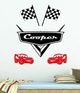 Disney Cars Logo Racing Chequered Flag Any Custom Name Lightning