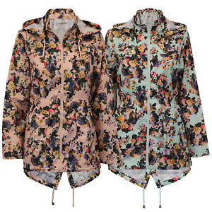 ladies kagool jacket Brave Soul womens floral rain cagoule hooded fish tail new
