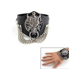 Fashion Men Wolf Chain Bracelet Punk Rock PU Leather Wrist Band Gothic Bangle