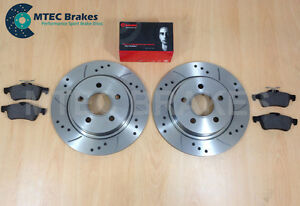 Ford-Focus-ST225-2-5-MTEC-Drilled-Grooved-Rear-Brake-Discs-amp-Brembo-Pads
