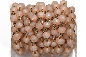 13ft FROSTED CARAMEL PEACH Crystal Rondelle Rosary Chain, bronze, 8mm fch0569b