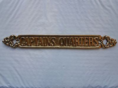 "12"" Solid Brass ""Captains Quarters"" Door Sign ~ Nautical Maritime ~ Boat Decor"