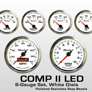 C2-6-Gauge-Set-White-Dials-Stainless-Step-Bezels-2264STP-0-90-Ohm-Fuel-Level