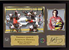 Ayrton Senna signed autographed Memorabilia A Formula 1 HondaTeam With frame