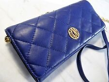 DKNY GANSEVOORT QUILTED LAMBSKIN WALLET ON A CHAIN CROSSBODY/ CLUTCH VIOLET