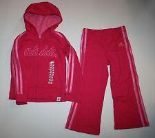 New Adidas Girl Pink 2 Pc Set Zip Up Hoodie Track Pants Size 2T NWT Sweatshirt