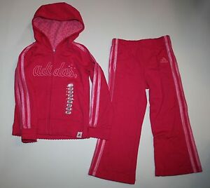 Adidas Con Set Cerniera Nuovo 2 Da Pc Rosa Felpa Pantaloni Bambina dRgR8wqx4
