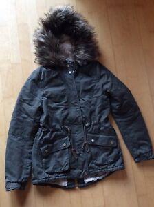 Details zu ⭐️ H&M ⭐️ Damen Winter Mädchen Parka Jacke Mantel Kapuze Fell Gr. XS 34