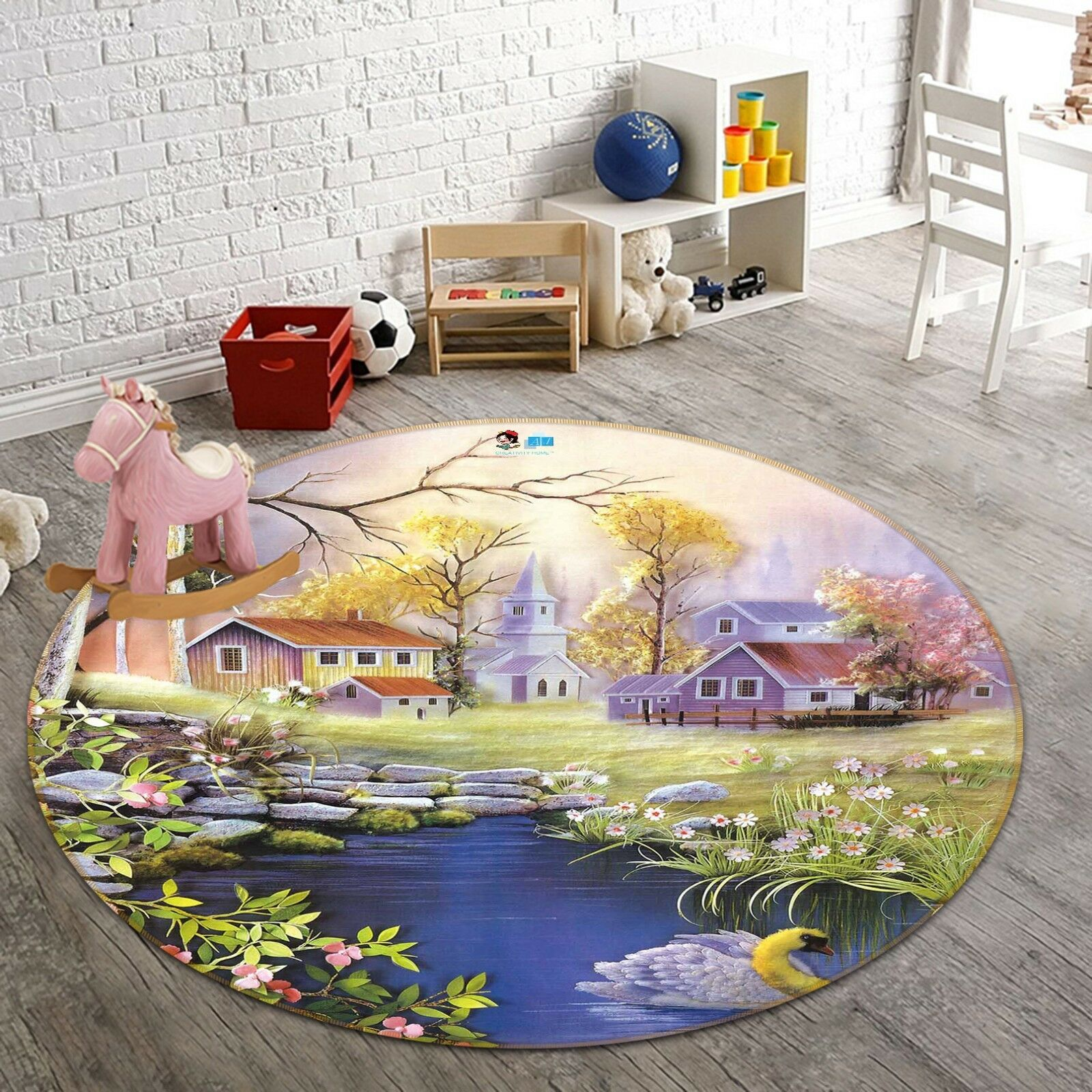 3D Garden View 8 8 8 Non Slip Rug Mat Room Mat Round Quality Elegant Photo Carpet US 9472c0