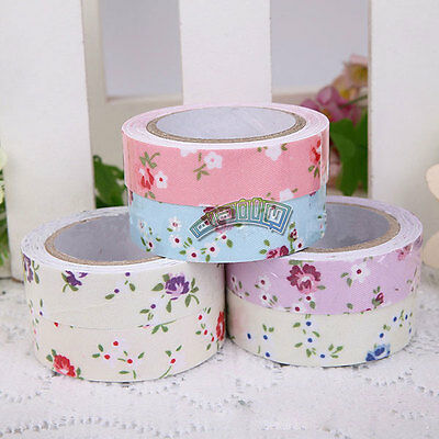 1pc 15mm Flower Printing Fabric Washi Tape Adhesive Sticker DIY Decorative Tape