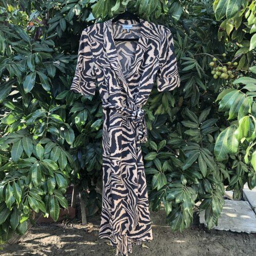 Ganni Silk Zebra Print Wrap Midi Dress - image 1