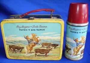 VINTAGE ROY ROGERS DALE EVANS DBL R BAR RANCH METAL LUNCH BOX W/THERMOS COWBOY