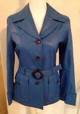 Cus Club Blue Genuine Leather Jacket/blazer/coat S Vintage GUC Anthropologie