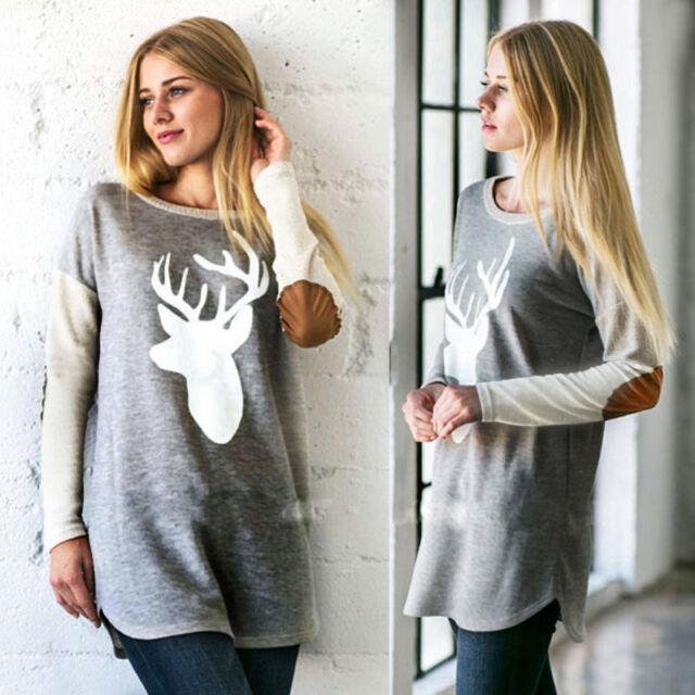 Fashion Women Long Sleeve O-Neck Deer Printed Shirt Casual Loose Tops Blouse