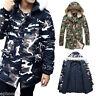 Men's Warm Down Camo Jacket Fur Collar Thick Winter Hooded Coat Outwear Parka