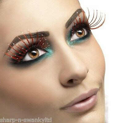 Damen Lang Rot Glitzer Künstliche Wimpern Drag Queen Burlesque Jungesellen