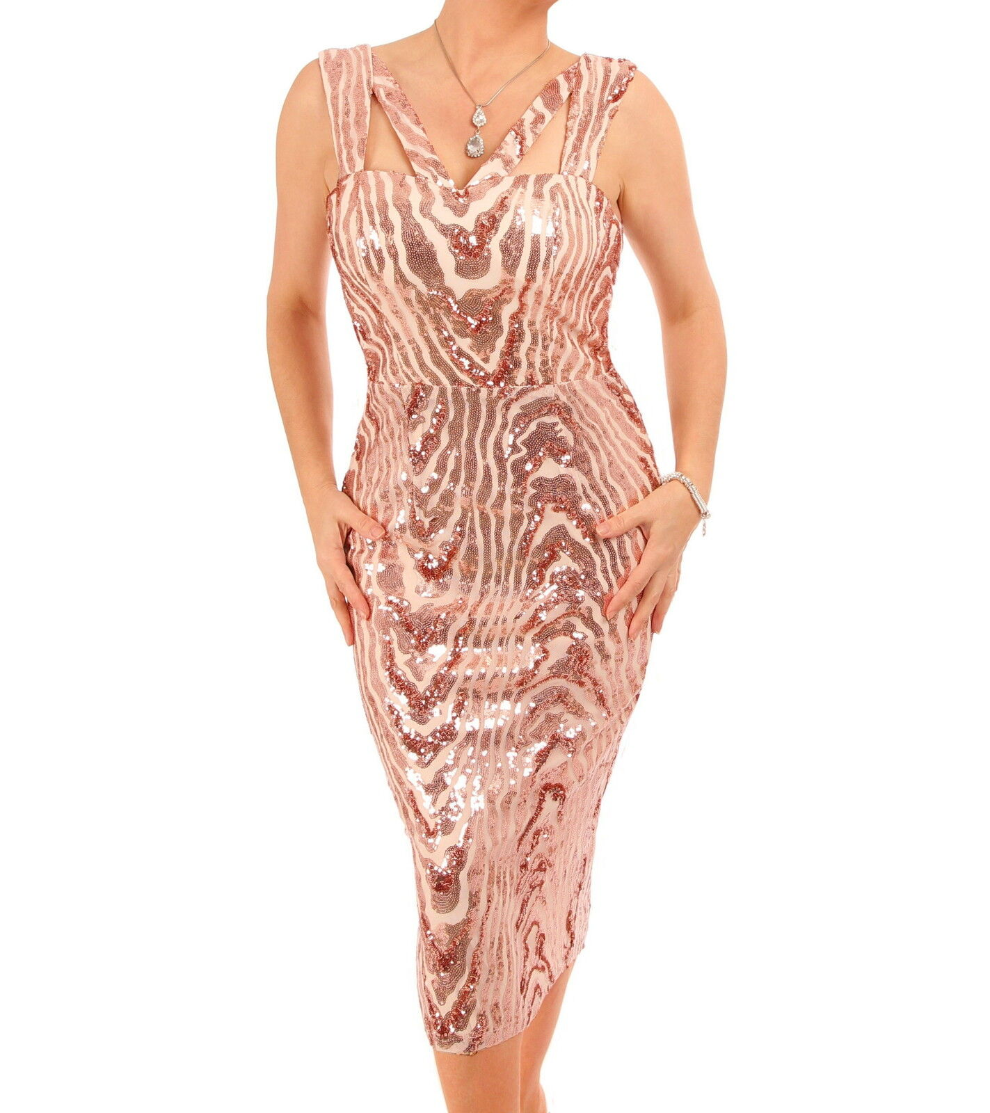 NEU Riemchen Paillette Midi Kleid - RotGold oder schwarz