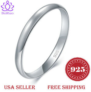 BORUO-925-Sterling-Silver-Ring-Plain-Dome-Comfort-Fit-Wedding-2mm-Band-Size-4-12