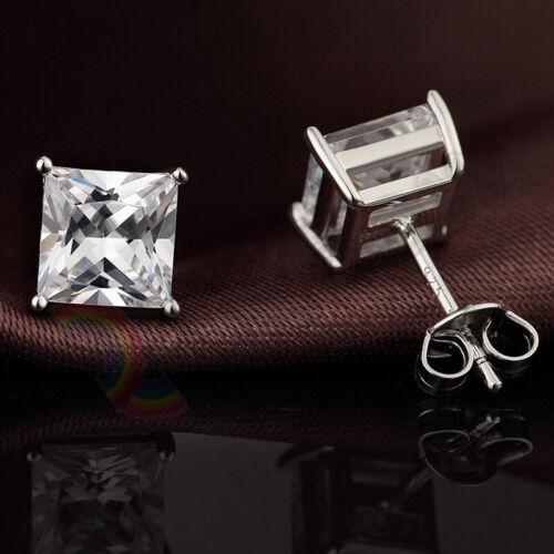 Aretes Plata Esterlina 925 Hombre Mujer 3,4,5,6,7,8,10mm Diamante Cuadrado