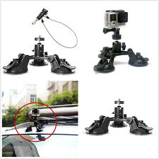 Car Auto Triple Low Angle Suction Cup Mount Holder+12 inch Safety Lanyard GoPro