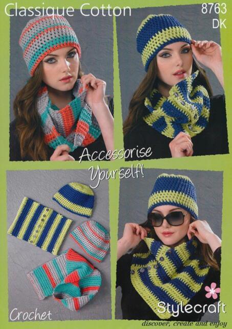 Stylecraft 8764 Knitting Pattern Special Classique Cotton DK- Beanie Hat & Cowl
