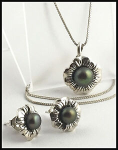 925-Sterling-Silver-amp-Pearl-Floral-Pendant-Necklace-amp-Matching-Earrings-Set