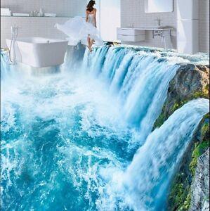 Image Is Loading 3D Blue Waterfall Floor Wallpaper Mural PVC Self