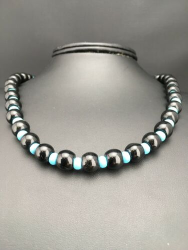 Details about  /Native American Navajo Sterling Silver Black Onyx Turquoise Bead Necklace 4882