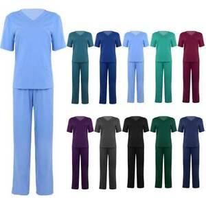 UK Unisex 2Pcs Medical Doctor Nursing Scrub Uniform Hospital Suit Top Long Pants