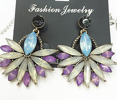 2018 Fashion Purple Crystal Rhinestone Ear Drop Dangle Stud Earrings Gift 854