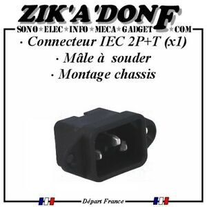 Connecteur-panneau-chassis-Male-2-Poles-Terre-IEC-60320-C14-secteur-220V-10A