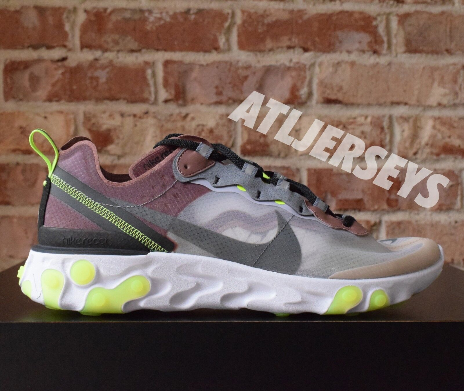 Nike React Element 87 Desert Sand Cool Grey Volt AQ1090-002 Comfortable The latest discount shoes for men and women