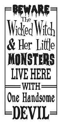 HALLOWEEN STENCIL**Beware The Wicked Witch...** for signs crafts scrapbook walls